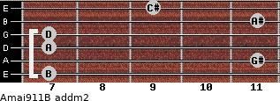 Amaj9/11/B add(m2) guitar chord