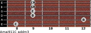 Amaj9/11/C add(m3) guitar chord