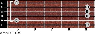 Amaj9/11/C# for guitar on frets 9, 5, 9, 9, 9, 5