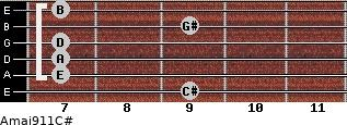 Amaj9/11/C# for guitar on frets 9, 7, 7, 7, 9, 7