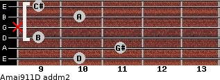 Amaj9/11/D add(m2) guitar chord