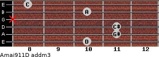 Amaj9/11/D add(m3) guitar chord