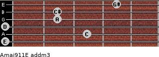 Amaj9/11/E add(m3) guitar chord