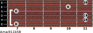 Amaj9/11b5/B for guitar on frets 7, 11, 11, 7, 10, 11