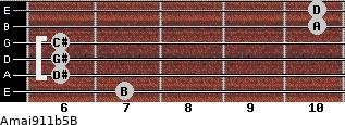 Amaj9/11b5/B for guitar on frets 7, 6, 6, 6, 10, 10