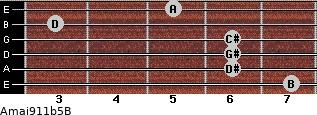 Amaj9/11b5/B for guitar on frets 7, 6, 6, 6, 3, 5