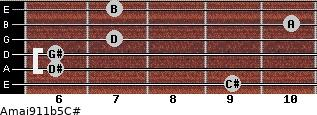 Amaj9/11b5/C# for guitar on frets 9, 6, 6, 7, 10, 7