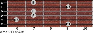 Amaj9/11b5/C# for guitar on frets 9, 6, 7, 7, 9, 7