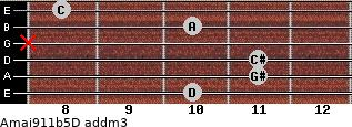 Amaj9/11b5/D add(m3) guitar chord