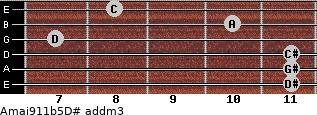 Amaj9/11b5/D# add(m3) guitar chord