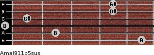 Amaj9/11b5sus for guitar on frets 5, 2, 0, 1, 4, 4