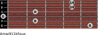 Amaj9/11b5sus for guitar on frets 5, 2, 0, 2, 4, 4
