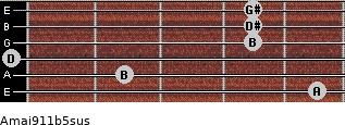 Amaj9/11b5sus for guitar on frets 5, 2, 0, 4, 4, 4