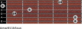 Amaj9/11b5sus for guitar on frets 5, 5, 1, 2, 0, 4