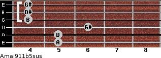 Amaj9/11b5sus for guitar on frets 5, 5, 6, 4, 4, 4
