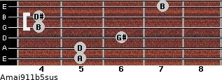 Amaj9/11b5sus for guitar on frets 5, 5, 6, 4, 4, 7