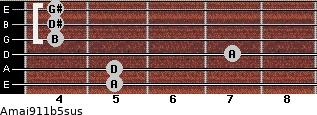 Amaj9/11b5sus for guitar on frets 5, 5, 7, 4, 4, 4