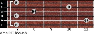 Amaj9\11b5sus\B for guitar on frets 7, 11, 7, 8, 10, 7