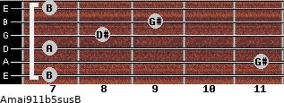 Amaj9\11b5sus\B for guitar on frets 7, 11, 7, 8, 9, 7