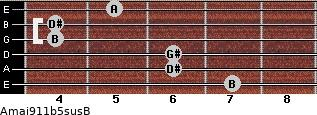 Amaj9\11b5sus\B for guitar on frets 7, 6, 6, 4, 4, 5