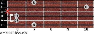 Amaj9\11b5sus\B for guitar on frets 7, 6, 6, x, 10, 7