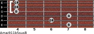 Amaj9\11b5sus\B for guitar on frets 7, 6, 7, 4, 4, 4