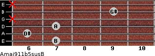 Amaj9\11b5sus\B for guitar on frets 7, 6, 7, x, 9, x