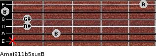 Amaj9\11b5sus\B for guitar on frets x, 2, 1, 1, 0, 5