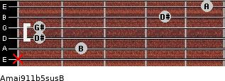 Amaj9\11b5sus\B for guitar on frets x, 2, 1, 1, 4, 5