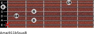 Amaj9\11b5sus\B for guitar on frets x, 2, 1, 2, 0, 4