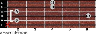 Amaj9\11b5sus\B for guitar on frets x, 2, 6, 2, 4, 4