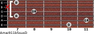 Amaj9/11b5sus/D for guitar on frets 10, 11, 7, 8, x, 7