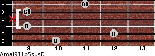 Amaj9/11b5sus/D for guitar on frets 10, 12, 9, x, 9, 11