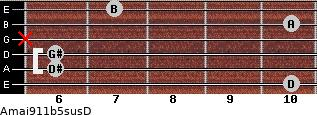 Amaj9/11b5sus/D for guitar on frets 10, 6, 6, x, 10, 7