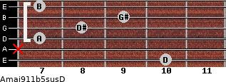 Amaj9/11b5sus/D for guitar on frets 10, x, 7, 8, 9, 7