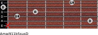 Amaj9/11b5sus/D for guitar on frets x, 5, 1, 2, 0, 4