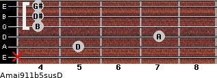 Amaj9/11b5sus/D for guitar on frets x, 5, 7, 4, 4, 4