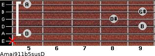 Amaj9/11b5sus/D for guitar on frets x, 5, 9, 8, 9, 5
