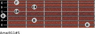Amaj9/11#5 for guitar on frets 5, 2, 0, 1, 2, 1