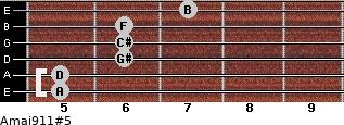 Amaj9/11#5 for guitar on frets 5, 5, 6, 6, 6, 7