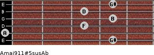 Amaj9/11#5sus/Ab for guitar on frets 4, 0, 3, 4, 3, 4