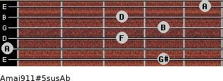 Amaj9/11#5sus/Ab for guitar on frets 4, 0, 3, 4, 3, 5