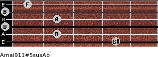Amaj9/11#5sus/Ab for guitar on frets 4, 2, 0, 2, 0, 1