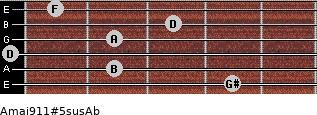 Amaj9/11#5sus/Ab for guitar on frets 4, 2, 0, 2, 3, 1