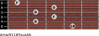 Amaj9/11#5sus/Ab for guitar on frets 4, 2, 3, 2, 3, 1