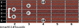 Amaj9/11#5sus/Ab for guitar on frets 4, 2, 3, 2, 3, 4