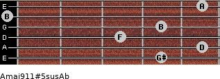 Amaj9/11#5sus/Ab for guitar on frets 4, 5, 3, 4, 0, 5