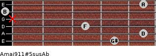 Amaj9/11#5sus/Ab for guitar on frets 4, 5, 3, x, 0, 5
