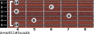 Amaj9/11#5sus/Ab for guitar on frets 4, 5, 7, 4, 6, 4