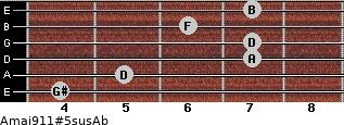 Amaj9/11#5sus/Ab for guitar on frets 4, 5, 7, 7, 6, 7
